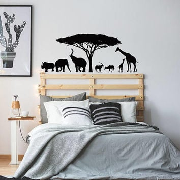 Safari Africa Wall Decal, African Nature Wall Decal, Elephant Giraffe Wall Decal Nursery Decor, Animals Wall Decal Bedroom Nursery Decor K99