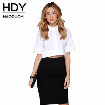HDY Haoduoyi European OL shirt slim half sleeve crop top brief women white shirts summer blouse women short sleeve Top for women
