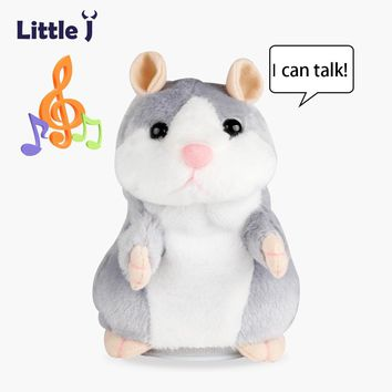 Little J Cute Red Nose Talking Hamster Mouse Toy Funny Interactive Repeated Sounding Plush Hamster Speak Toys Christmas Gift