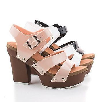 Tegan Beige Pvc By Nature Breeze, Jelly Two Tone Strappy Platform Chunky Heel Casual Sandals