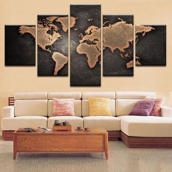 Home HD Decorative Painting Popular Framework Modular Picture World Map Canvas Oil Wall Art Prints Poster For Living Room