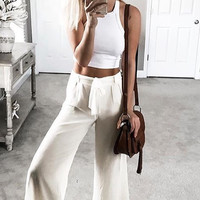 FRONT TIE CHIFFON PALAZZO PANTS (more colors) - Final Sale