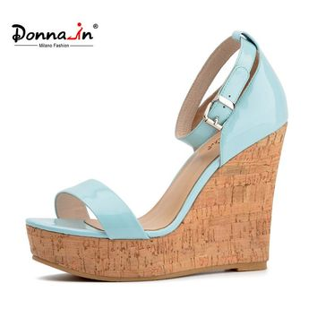 Donna-in 2017 summer new styles patent leather wedge sandales fashion women's platform high heels shoes