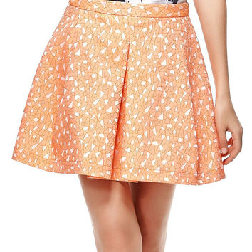 Orange Tile Jacquard Structured Pleats Skirt