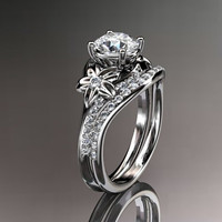 Platinum diamond floral wedding ring,engagement ring set ADLR125S