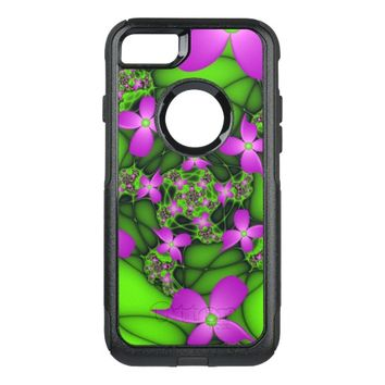 Modern Abstract Neon Pink Green Fractal Flowers OtterBox Commuter iPhone 7 Case