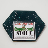 Ceramic Hexagon Beer Label Coaster | Lagunitas Cappuccino Stout Beer | Upcycle Ceramic Tile Coaster | Craft Beer Geek Gift | Single Coaster