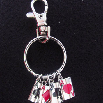 Deck of Cards Keychain - Card Deck Keychain - Cards Charm Keychain - Gambling Accessories - Hearts Spades Clubs Diamonds Casino Keychain