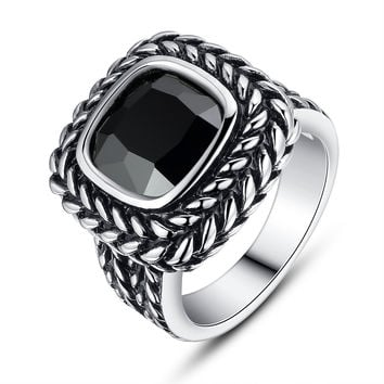 Stainless Steel Vintage Square Black Cubic Zirconia Ring