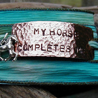 Horse Jewelry Hand Stamped Copper and Adjustable Silk Wrist Wrap Bracelet - My Horse Completes Me