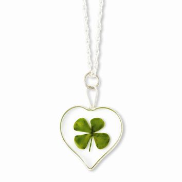 Sterling Silver Trim Four Leaf Clover Heart w/ Silver-plated Chain
