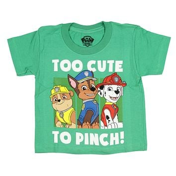Paw Patrol Toddler Boys' Too Cute To Pinch Rubble Chase Marshall T-Shirt