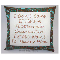 Funny Cross Stitch Pillow, Brown and Turquoise White Pillow, Fictional Character Quote