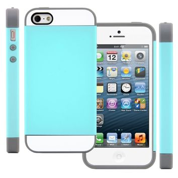 iPhone SE Case, CellJoy [Vivid Hybrid] (Turquoise Teal / Gray) Slim Fit Armor Dual Layer Case Cover For Apple iPhone 5s / iPhone 5