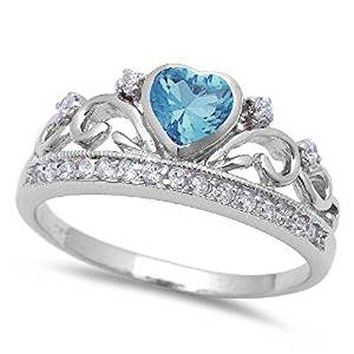 Simulated Aquamarine Heart and White cubic Zirconia 925 Sterling Silver Ring Sizes 411
