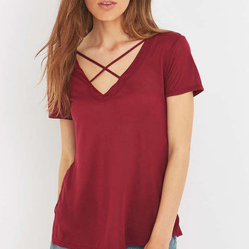 Project Social T Karlie Cross-Front V-Neck T-shirt - Urban Outfitters