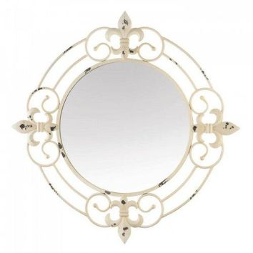 Home Wall Decor Antique White Fleur-De-Lis Wall Mirror