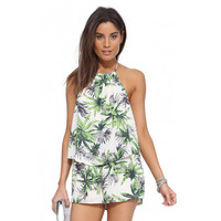 2Pcs Palm Print Chiffon Halter Backless Top Shorts Sets