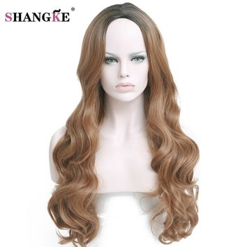 SHANGKE Hair 28'' 330g Long Ombre Blonde Synthetic Wigs For / White Women Natural Dark Blonde Wig  Ombre Female Wig
