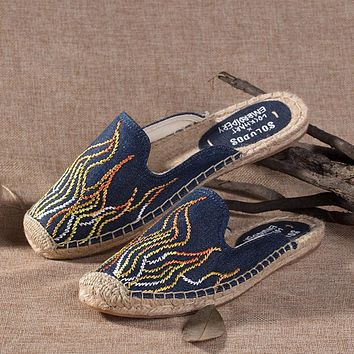 Soludos Blue Flame Embroidery Slipper Mule Navy