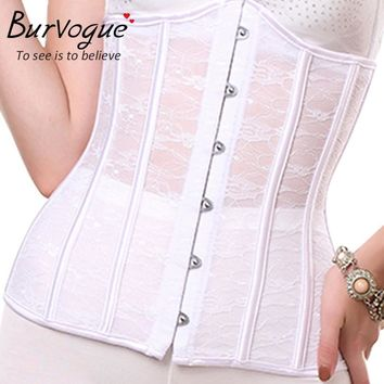 Burvogue White Lace Wedding Corset Steel Bone Underbust Bridal Corset  Waist Corset Plus Size Bustier Top Chest