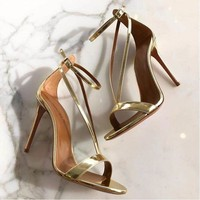 Elegant V Strap High Heel Sandals Women Patent Leather Office 10.5 cm Thin Heel Sexy Party Shoes Summer