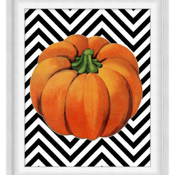 Printable Poster: Pumpkin Over Chevrons - Vertical 8x10 - Digital Wall Art - Printable Art