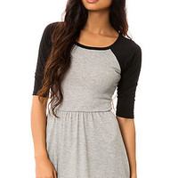 The Raglan Skater Dress in Heather and Black