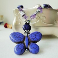 Purple Blue Butterfly Necklace Antique Silver Howlite Amethyst Stones | LittleApples - Jewelry on ArtFire