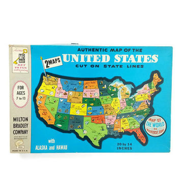1962 Milton Bradley Map Jigsaw Puzzle, Map of the US and World, Family Game Night, Vintage Games