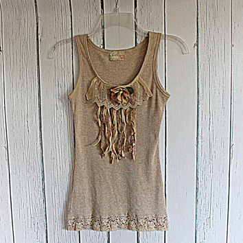 Romantic Upcycled Women's Tank Top / Lace Cami / Tattered Shirt