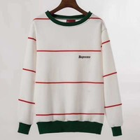 Supreme Fashion Couple Embroidery Round Neck Pullover Sweatshirt Top Sweater