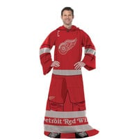 Detroit Red Wings NHL Adult Uniform Comfy Throw Blanket w- Sleeves