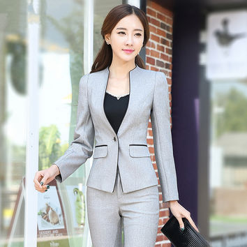 High Quality 2015 Women Suit Set Office Ladies Work Wear Women Pant Suits elegant business uniform style trouser suits S-3XL