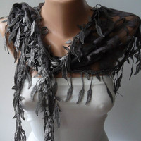 Grey Guipure Scarf with Grey Trim Edge Shaped by SwedishShop