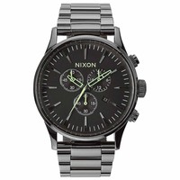 Nixon A3861885 Men's Sentry Chrono Black Dial Gunmetal IP Steel Bracelet Watch