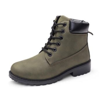 Fashion trending boots for women shoes waterproof Martin boots Army Green