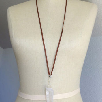 Handmade Trendy Brown Suede Wire wrapped Extra Large Raw Crystal Necklace