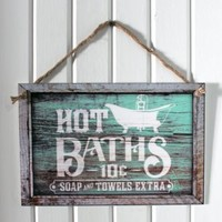 """Hot Baths"" 12""x8"" Decorative Bathroom Sign - Weathered Vintage Western Design- 3mm Flat Printed Plastic (not real wood) with Rope Hanger"
