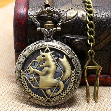 Hot Steampunk Fullmetal Alchemist Bronze Horse Clock Hollow Quartz Pocket Watch Chian Men Women's Free Shipping