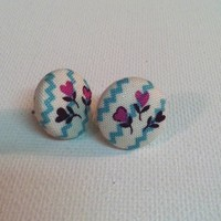 Heart Garden Stud Fabric Button Earrings from Kute As a Button Shop