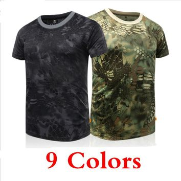 Men's Military Tactical T Shirt Summer Camouflage Hunting T-shirt Army Training Combat Breathable Tops Sports Hiking T-shirt