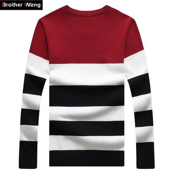 New Men's Leisure Clohing Sweaters with Round Collar and Stripe Cultivate One's Morality Big Yards Christmas sweater