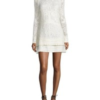 See by Chloe Long-Sleeve Tiered Pointelle Mini Dress, Off White