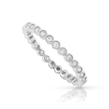 Sterling Silver Simulated Diamond Stackable Eternity Ring