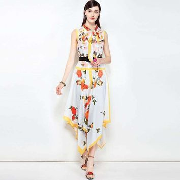 Pretty Print Irregular Women Dress Sleeveless Stand Collar Bow Slim Mid-Calf Length Sweet Dress