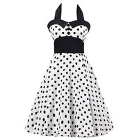 Black And White Polka Dots Mesh Paneled Halter Dress