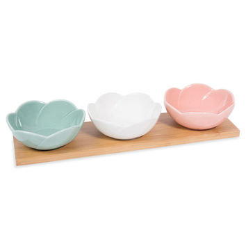 CAPUCINE drinks tray + 3 ceramic bowls | Maisons du Monde