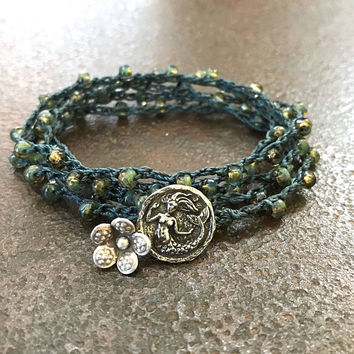 Mermaid Bracelet, Crochet Bracelet, Beach Boho Jewelry, Boho Bracelet, Multi Wrap Bracelet, Mermaid Jewelry, Coastal Jewelry