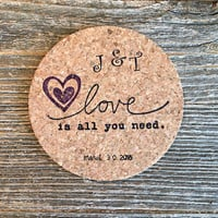 Coasters, Wedding Favors, 100 Party Favors, Personalized Wedding Favor, Bridal Shower Favors, Wedding Gift, Love Is All You Need Gift